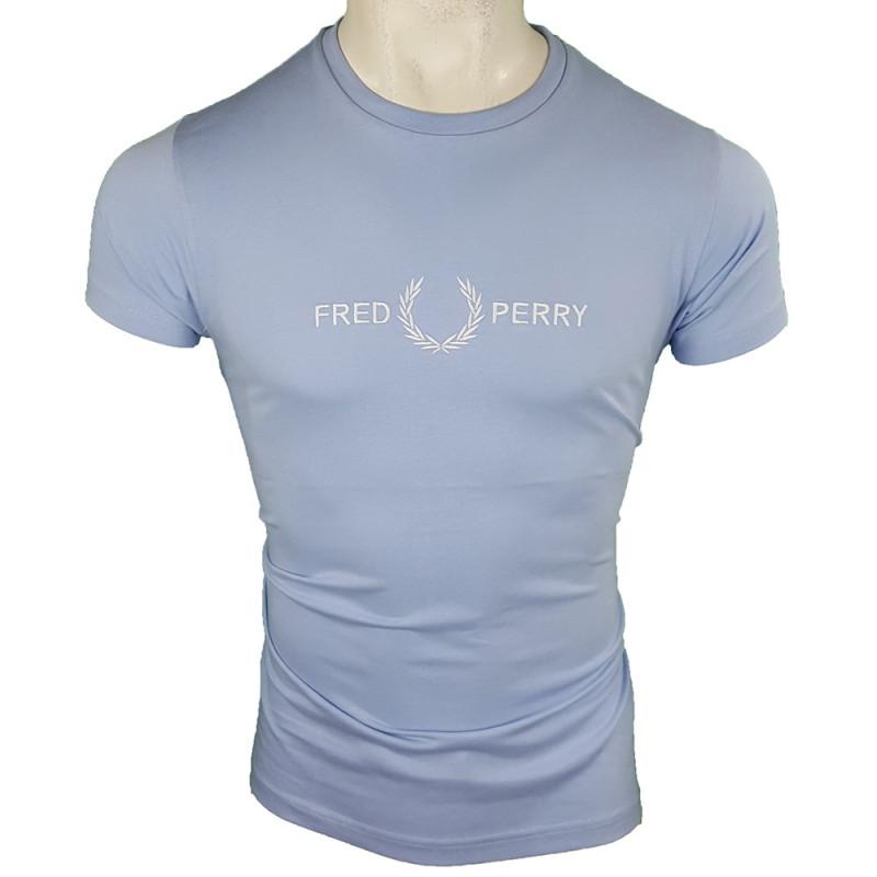 Camiseta Fred Perry Hombre Azul Celeste Ref.1955
